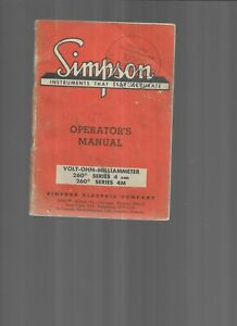 Simpson Instruments That Stay Accurate 260 Series Operators Manual 1965