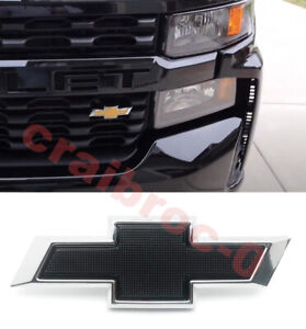 Front Small Black Chrome Bowtie For 2019 2021 Chevy Silverado 1500 2500hd 3500hd