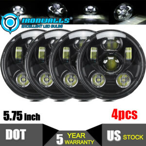 4pcs 5 75 5 3 4 Round Clear Glass Led Headlights Projector Hi lo Beam Sealed