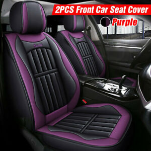 2 Pcs Pu Leather Car Front Seat Cushion Cover Protector Breathable Full Surround
