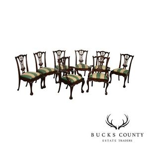 Chippendale Style Carved Solid Mahogany Set 8 Dining Chairs