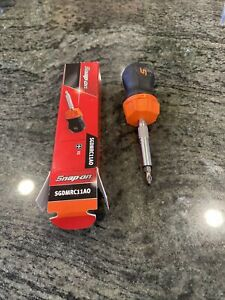 New Snap On Ratcheting Stubby Orange Soft Grip Screwdriver With Bit Sgdmrc11ao