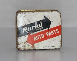 Vintage Rurka Brand Auto Parts Ad Print Litho Tin Box Collectible 12204