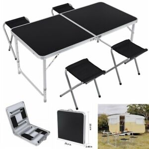 4ft Folding Table Indoor Outdoor Bbq Portable Picnic Party 4 Chairs Black