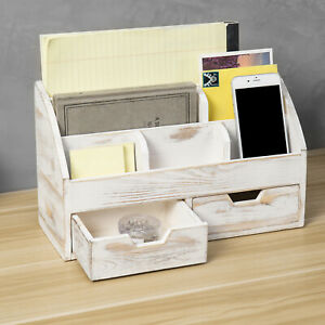 Mygift 6 Slot Whitewashed Wood Desktop Office Supplies Organizer With 2 Drawers