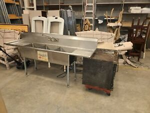 3 compartment Stainless Steel Kitchen Commercial Sink 7 Long Pickup In Sc