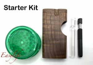 Wood Dugout With 3 Glass One Hitter And 3 Self Cleaning Pipe And Grinder Usa