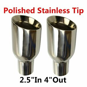 2x 2 5 In 4 Out Polished Stainless Steel Exhaust Tip Duo Layer Slant Cut Sliver