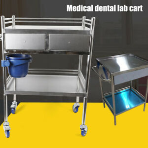 Hospital Stainless Steel Two Layers Serving Medical Cart Dental Lab Trolley