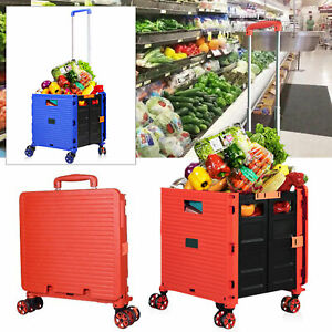 Folding Shopping Cart Utility Rolling Trolley Portable F Grocery Laundry Travel