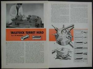 6 Way Tailstock Turret Head Fits 9 Lathe 1961 Howto Build Plans