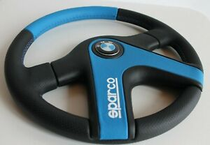 Steering Wheel Fits Bmw E30 Oem Sparco Leather Perforated Black And Blue