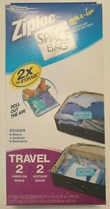 Ziploc Space Bags Travel Roll Up Compression Carry On And Suitcase Set Of 4