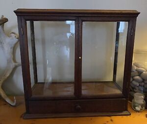 Rare Antique Glass Wood Display Case Box With Drawer