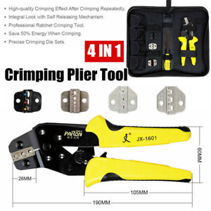 4 In 1 Wire Crimper Ratcheting Crimping Pliers Connectors Terminal Tool Kit Us