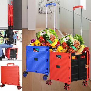 Red blue Folding Shopping Cart Grocery Cart Rolling Trolley Large Capacity