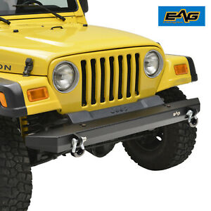 Eag Front Bumper With D Rings Off Road Black Fit For 87 06 Jeep Wrangler Yj Tj