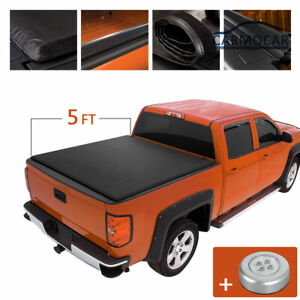 5ft 60 Soft Roll Up Tonneau Cover For Toyota Tacoma 2005 2015 Crew extended Cab
