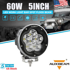 Auxbeam 5 inch Round Row Led Light Bar Pod 6000lm 60w Driving Off Road Work Lamp