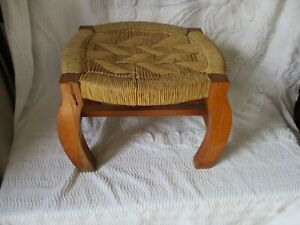 Antique Vintage Rush Woven Wicker Hand Crafted Foot Stool Plant Stand Home Decor