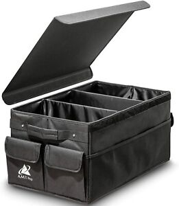 Large Foldable Car Trunk Organizer With Cover Auto Tool Storage Cargo Box Black