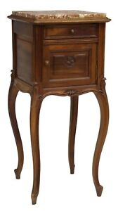 Antique Bedside Cabinet Night Stand French Louis Xv Style Marble Top 1900s