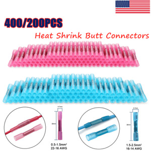 400 300 200pcs 26 12 Awg Heat Shrink Butt Wire Splice Connectors Crimp Terminals