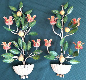 Italian Tole Figural Floral Candelabra Sconces Mid 1900s Iron And Metal Painted