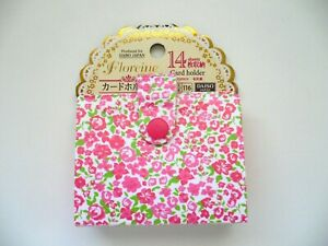Pretty Floral Credit business Card Case Holder W snap Button Closure Pink Bn