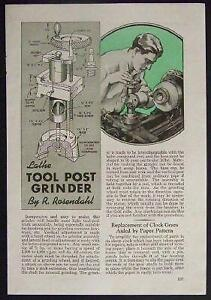 Tool Post Grinder For Metal Lathe 1944 How to Build Plans