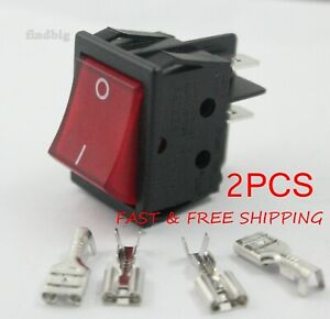2pcs Canal R Series Rocker Switch Red Illuminated Double Pole