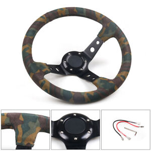 350mm 14inch Deep Dish 92mm 6 Bolt Racing Suede Camo Steering Wheel Horn Button