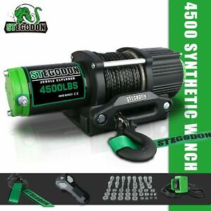 Stegodon Electric Winch 4500lbs Synthetic Rope 12v Tow Truck Atv Utv Offroad 4wd