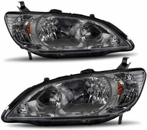 For 2004 2005 Honda Civic Sedan coupe Factory Style Black smoke Headlights