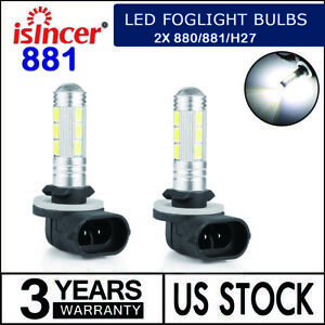 2x Led Foglight Bulbs Kit 14smd 880 881 H27 6000k Super Bright White High Power
