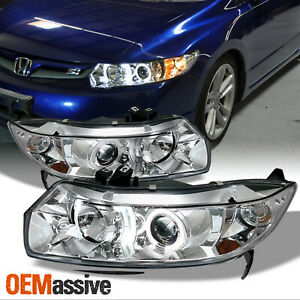 Fits 06 11 Honda Civic 2dr Coupe Halo Projector Headlights Lamps Left Right Sets