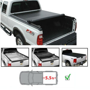 Tonneau Cover For 07 18 Tundra 5 5 Fleetside Bed Soft Vinyl Lock Roll Up Black