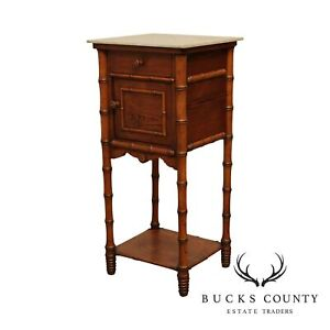 Antique Victorian Faux Bamboo Marble Top Bed Side Cabinet Nightstand