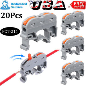 20x Din Rail Universal Wire Connector Terminal Block Mini Push in Conductor Gray
