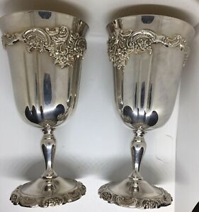 Fabulous Vintage Pair Baroque By Wallace Goldlined Water Wine Cup Goblet 237