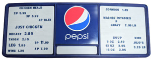 4ft Pepsi cola Collectible Menu Display Board Blue Advertising Sign 20 X 51