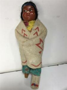 7 Vintage Antique Native American Indian Skookum Doll Eyes Right As Is
