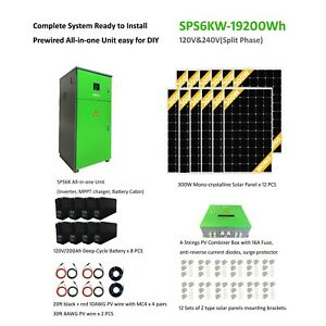 Complete kits 6KW off grid solar power station 19.2 KWh Battery Storage 3.6KW PV $12725.25