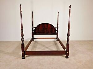 Thomasville Flame Mahogany Queen Size Carved Poster Bed