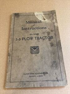 Oliver 3 5 Plow Tractor Manual Of Instructions Usa Original Rare