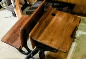 Vintage Child S School Desk Ornate Cast Iron Wood With Folding Seat Antique