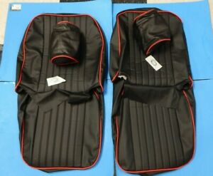 New Front Seat Covers Seat Upholstery Mgb 1973 76 Black Vinyl W Red W Headrest