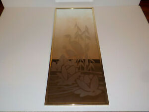 Vtg Mersel Etched Mirror With Gold Plated Plastic Frame Mcm Cranes Cattails