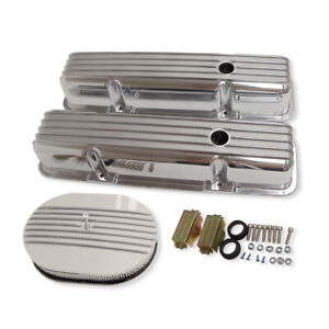 For 58 86 Sbc Chevy 350 Finned Polished Aluminum Valve Covers Air Cleaner Kit