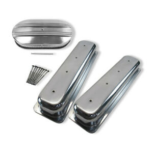 For Sbc Polishedvortec Short Valve Covers 15 X3 Oval Half Finned Air Cleaner